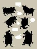 Schwein-Schattenbild-Symbole Lizenzfreies Stockbild