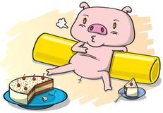 Schwein und der Kuchen Stockbild