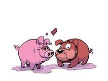 Schwein und Hund in der Liebe Lizenzfreie Stockfotografie
