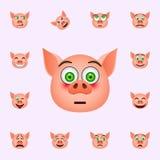 Schwein in Verwirrung emoji Ikone Schwein emoji Ikonen-Universalsatz f?r Netz und Mobile lizenzfreie abbildung