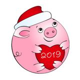 Schweinball mit rotem Herzen lizenzfreie abbildung