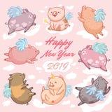 Schweine mit Flügeln in den Wolken, 2019-guten Rutsch ins Neue Jahr-Karte Bunte grafische Abbildung für Kinder lizenzfreie stockfotografie