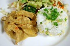 Schweinefleisch-Curry und Reis 2 Stockbilder