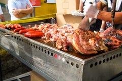 Schweinefleisch an einem Straßenfest Lizenzfreie Stockbilder