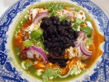 Schweinefleisch-Enchiladas mit alles lizenzfreie stockfotografie