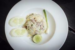 Schweinefleisch-gebratener Reis Lizenzfreie Stockfotos
