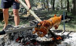 Schweinefleisch gegrillt auf Feuer stockfotos