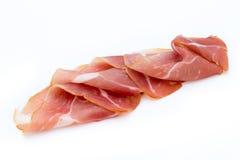 Schweinefleisch Ham Slices Isolated auf weißem Hintergrund Lizenzfreie Stockfotos