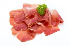 Schweinefleisch Ham Slices Isolated auf weißem Hintergrund Stockfotos