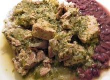 Schweinefleisch-Klumpen in Tomatillo-Salsa mit Reis und Bohnen stockfotografie