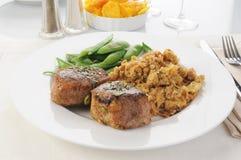 Schweinefleisch-Lendenstück-Abendessen Stockbild