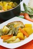 Schweinefleisch mit Gemüse Stockfotos