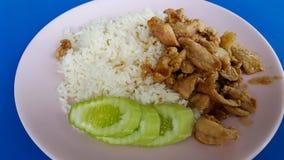Schweinefleisch mit Knoblauch auf Reis Stockbilder
