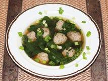 Schweinefleisch-und Garnelen-Fleischklöschen in der aromatischen Suppe Lizenzfreies Stockbild