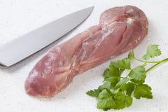 Schweinefleisch-zartes Lendenstück auf Granit Lizenzfreies Stockbild