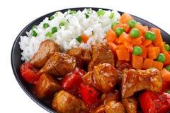 Schweinefleischeintopfgericht mit Reis Lizenzfreies Stockfoto