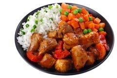 Schweinefleischeintopfgericht mit Reis Lizenzfreies Stockbild