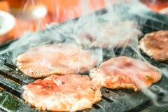 Schweinefleischscheibe für Grill, japanisches Lebensmittel, Yakiniku Stockbilder