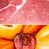 Schweinefleischscheibe gegen Fr?chte und Beeren stockfotografie