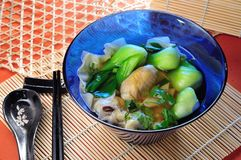 Schweinefleischsuppen-Asien-Lebensmittel auf weißem Hintergrund Stockfotos