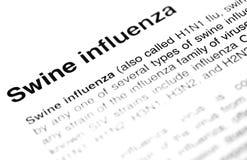 Schweingrippe oder Text des Virus H1N1 Stockfotos