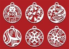 Schweinholdinggeschenk innerhalb des Weihnachtsballs Symbol von 2019 für Laser-Ausschnitt Satz Dekorationen des neuen Jahres vektor abbildung