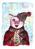 Schweinpostkarte des neuen Jahres lizenzfreie abbildung
