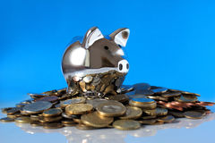 Schweinquerneigung auf Stapeln Münzen auf dem blauen Hintergrund Stockbild