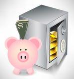 Schweinquerneigung mit Geld und Safe mit Gold Lizenzfreie Stockfotos