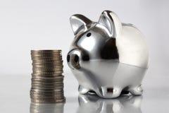 Schweinquerneigung und Stapel Münzen Stockbilder