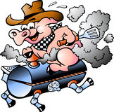 Schweinreiten auf einem BBQ-Faß Stockbild