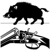 Schweinschwarzschattenbild-Weißhintergrund des wilden Ebers des Jagdgewehrs Stockfotos