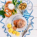 Schweinshaxe - pork knuckle on Bavarian Stock Images