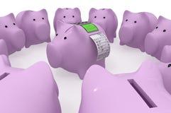 Schweinsparschwein mit einem Anschluss und einer Kontrolle Lizenzfreies Stockbild