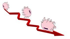 Schweinsparschwein rollt unten planmäßig Idee der Finanzkrise lizenzfreie abbildung