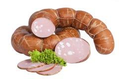 Schweinswurst mit Stücken Fett Getrennt auf weißem Hintergrund stockfotos