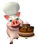 Schweinzeichentrickfilm-figur mit Chefhut und -kuchen Stockbilder