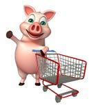 Schweinzeichentrickfilm-figur mit Laufkatze vektor abbildung
