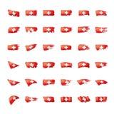 Schweiz flagga, vektorillustration på en vit bakgrund Royaltyfri Illustrationer