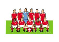 Schweiz fotbollslag 2018 royaltyfri illustrationer