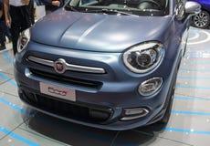 Schweiz; Genève; Mars 8, 2018; Fiat 500X främre sida; 88na Royaltyfria Bilder