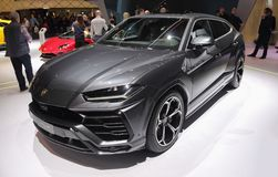 Schweiz; Genève; Mars 8, 2018; Lamborghini UrusSUV bil; Th royaltyfria bilder