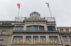 Schweiz; Genève; Mars 9, 2018; Patek Philipp museumbyggnad i Genève; Patek Philipp SA är den schweiziska lyxiga urmakaren grundad arkivbilder
