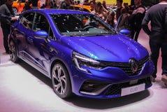 Schweiz; Genève; Mars 9, 2019; Renault Clio; Den 89th internationella motorshowen i Genève från 7th till 17th av mars, 2019 royaltyfri foto