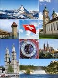 Schweiz gränsmärkecollage arkivfoton