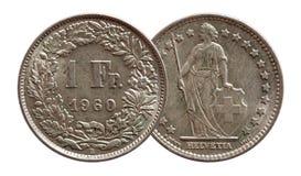 Schweiz schweiziskt mynt 1 en silver för franc som 1960 isoleras på vit bakgrund arkivfoton