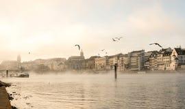 Schweiz sikt på floden Rhein i Basel i morgondimman arkivfoton
