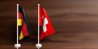 Schweiz- und Deutschland-Flaggen auf hölzernem Hintergrund Abbildung 3D lizenzfreie abbildung