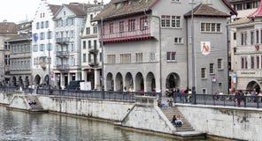Schweiz Zurich, 15 Februari 2016: Zurich stad, Schweiz Arkivfoton