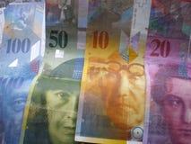 schweizare för bankrörelsevalutapengar Arkivbild